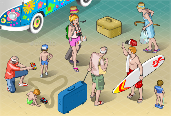 GraphicRiver Isometric Tourists Peoples Set in Vacation 10025136