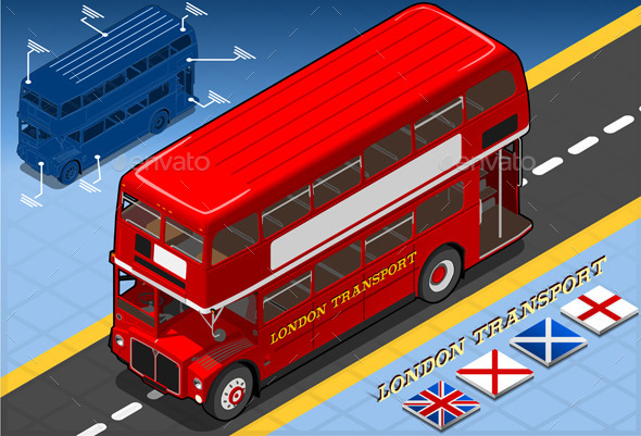 GraphicRiver Isometric Double Decker Bus in Front View 10025153