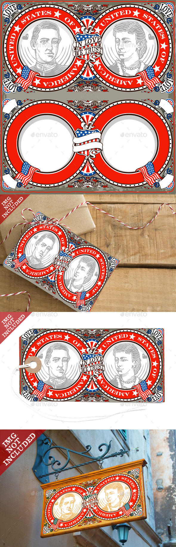 GraphicRiver American Vintage Patriot Wedding Invite 10025222