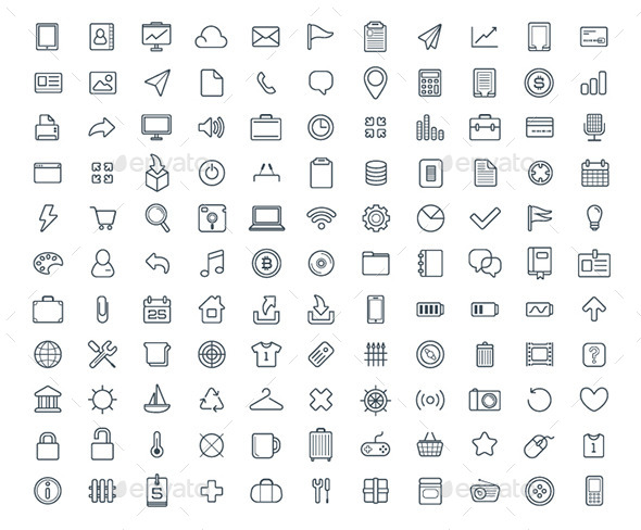 GraphicRiver 120& Vector Icons Set 10025359