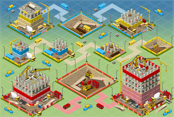 GraphicRiver Isometric Building Construction Mega Set 10025464