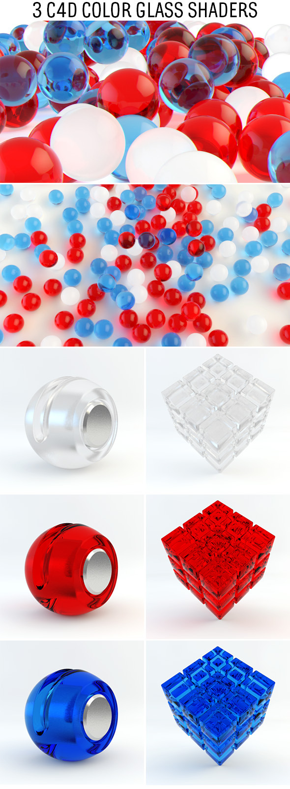 3DOcean 3 C4D Color Glass Shaders 10025496