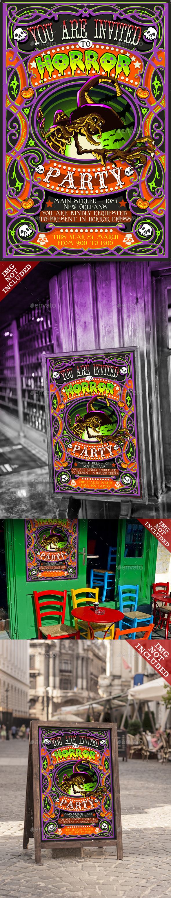 GraphicRiver Invite for Halloween Party with Witch 10025536