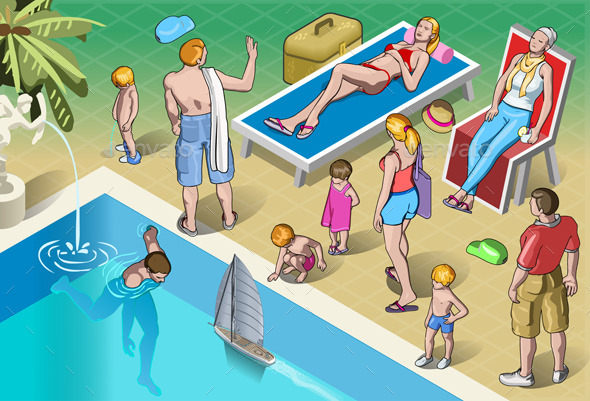 GraphicRiver Isometric Tourists Peoples Set in Various Position 10025541