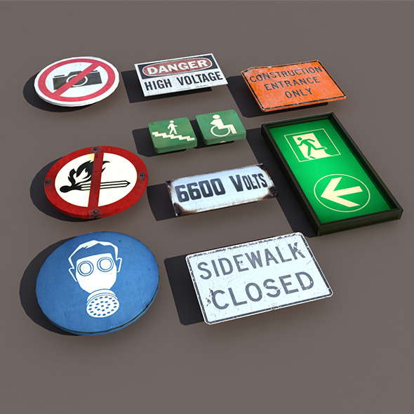 Various types Signs Low Poly 3d Model - 3DOcean Item for Sale
