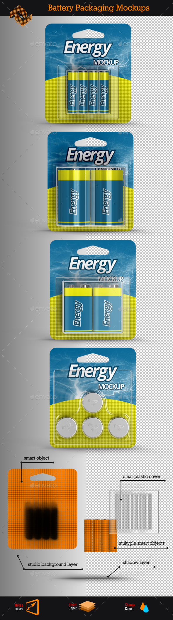4 Battery Packaging Mockups