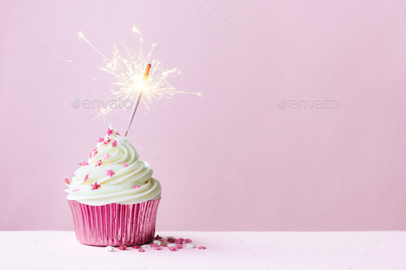 Celebration cupcake with sparkler