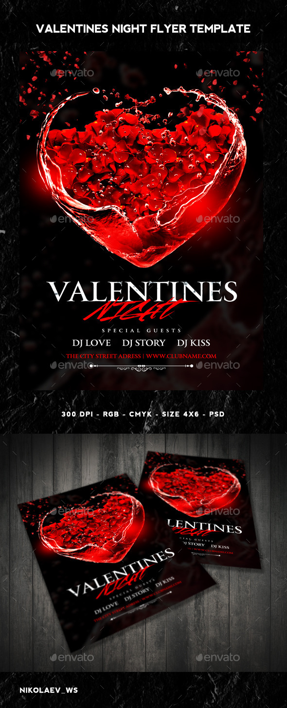 GraphicRiver Valentines Night Flyer 10025967