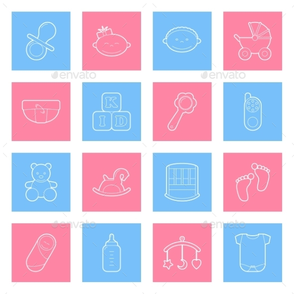 GraphicRiver Baby Lines Icons Set 10026567