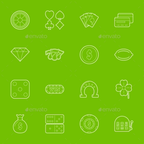 GraphicRiver Casino Thin Lines Icons Set 10026572