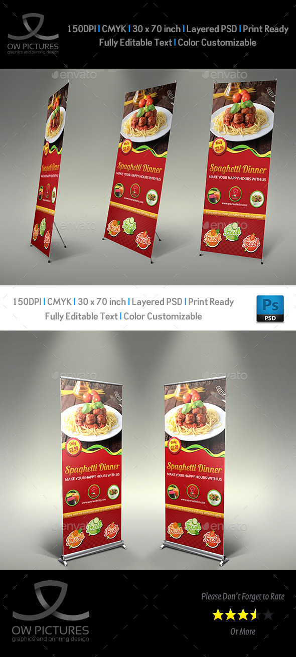 GraphicRiver Restaurant Rollup Signage Template Vol2 10026693