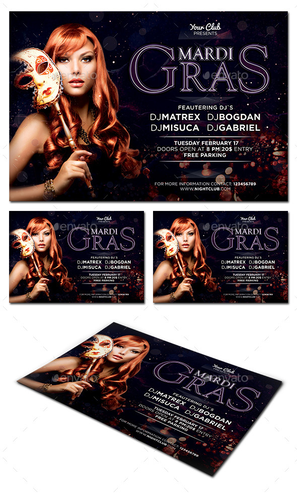 GraphicRiver Mardi Gras Party Flyer 10026955