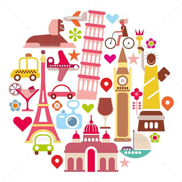 GraphicRiver Landmark Travel Round Illustration 10026996