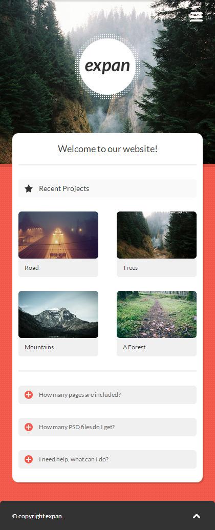 expan   Mobile HTML/CSS Portfolio Template