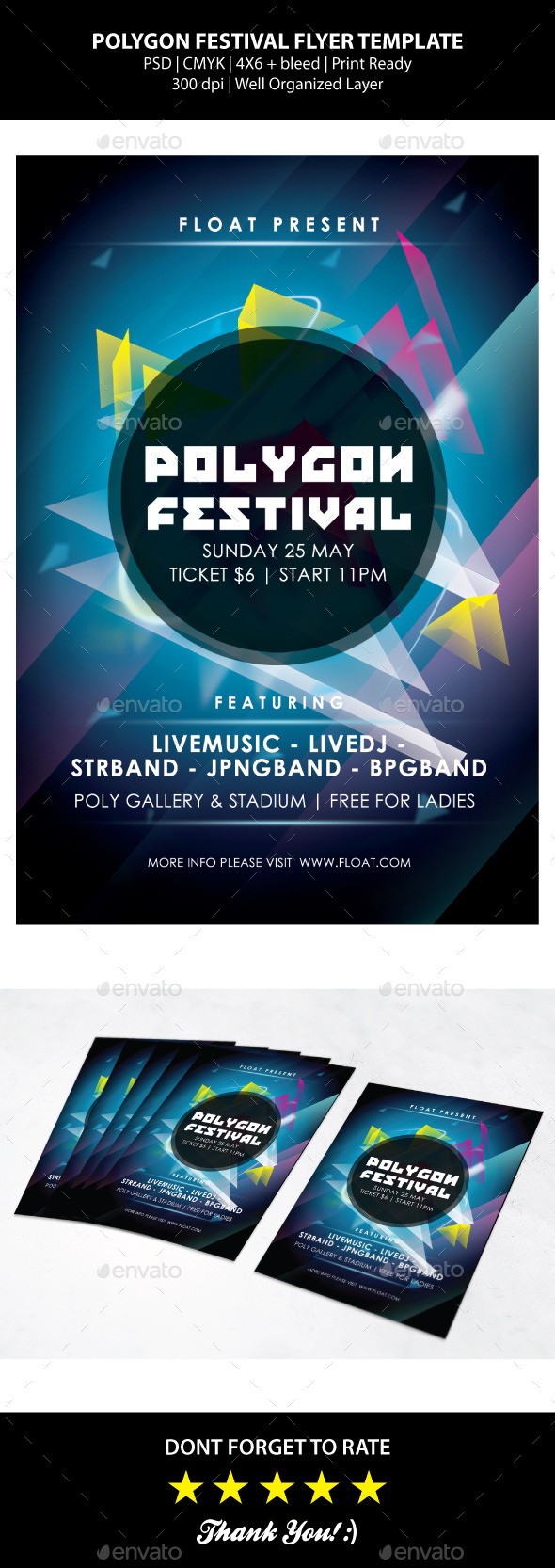 GraphicRiver Polygon Festival Flyer Templates 9375617