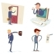 Vintage Businessman Characters Set Icon on Stylish - GraphicRiver Item for Sale