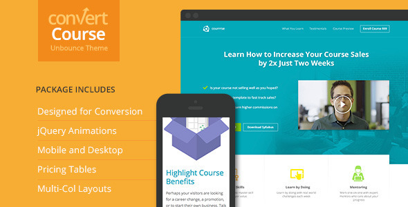 ThemeForest Course Landing Page for Unbounce 10028709