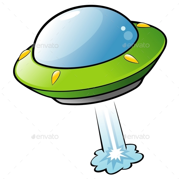 GraphicRiver Cartoon Flying Saucer 10028856