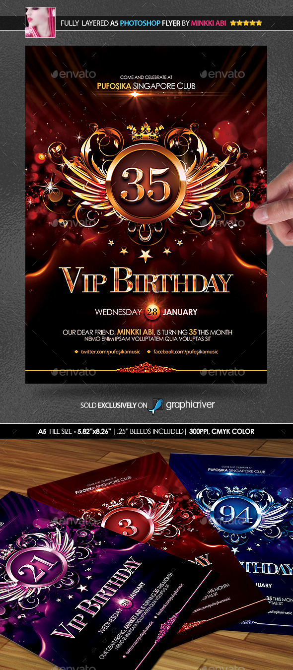 GraphicRiver VIP Birthday Poster Flyer 10029357