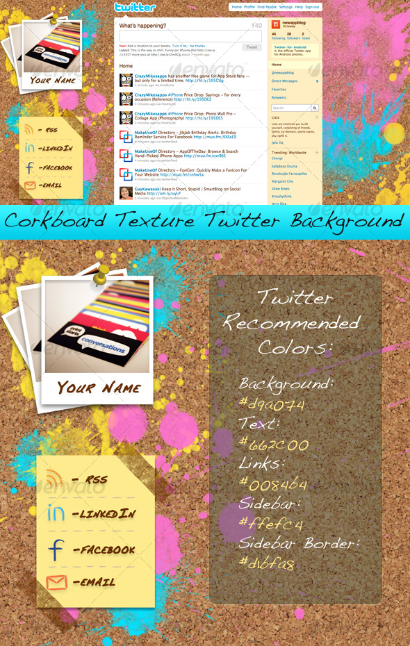 GraphicRiver Corkboard Texture Twitter Background 126441