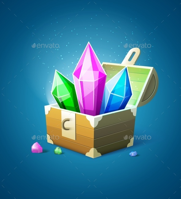 GraphicRiver Magic Chest with Precious Stone Crystals 10029461