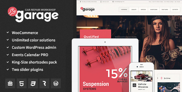 Garage - Auto Mechanic & Car Repair Workshop Theme