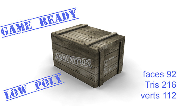 3DOcean ammo box wood 10029703