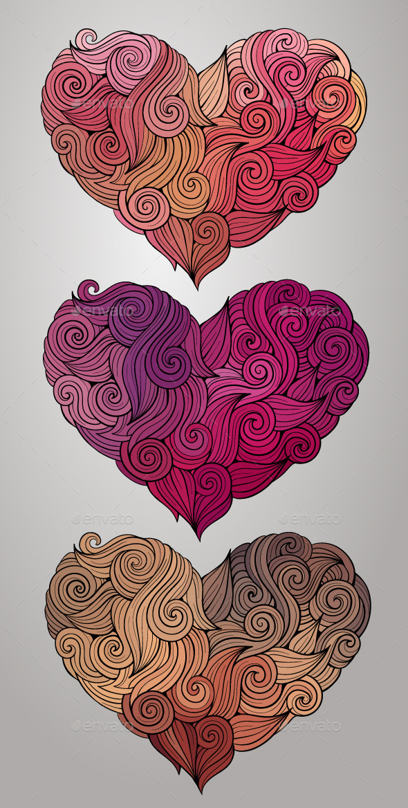 GraphicRiver Curly Heart Set 10029733
