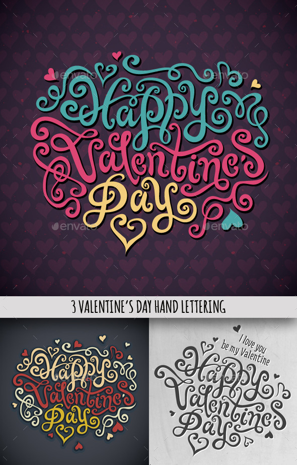 3 Happy Valentine s Day Hand Lettering