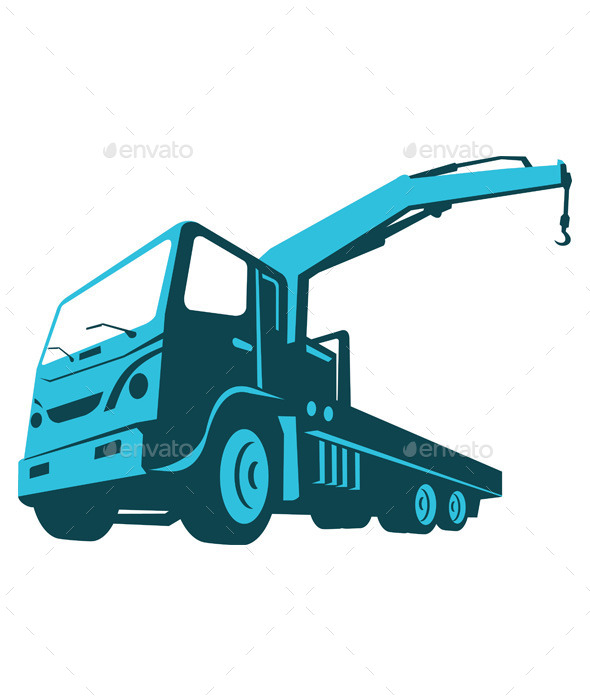 GraphicRiver Truck Crane Hoist Retro 10031087