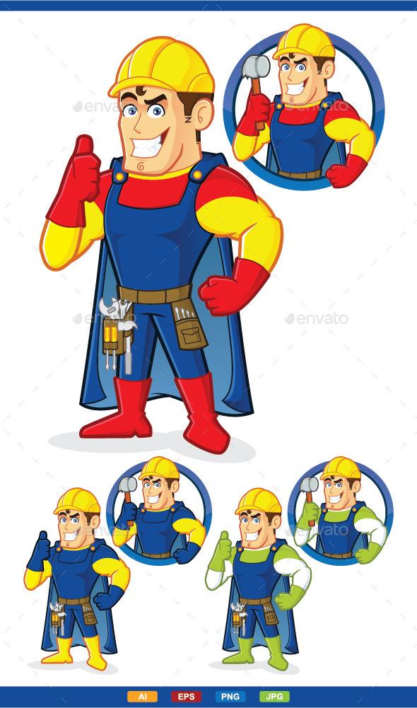 GraphicRiver Superhero Construction Guy 10031110