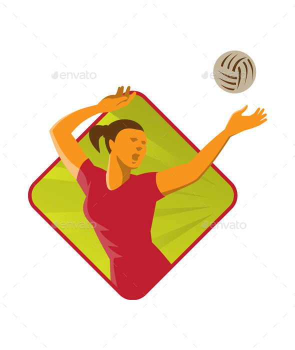 GraphicRiver Volleyball Player Spiking Ball Retro 10031125