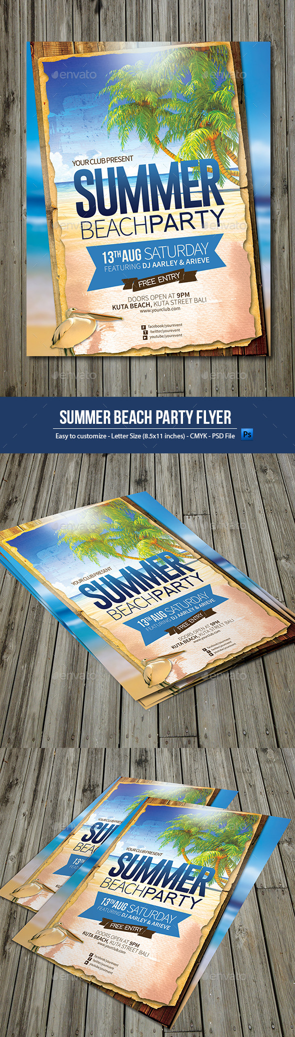 GraphicRiver Summer Beach Party Flyer 10031326
