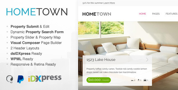 ThemeForest Hometown Real Estate WordPress Theme 9824422