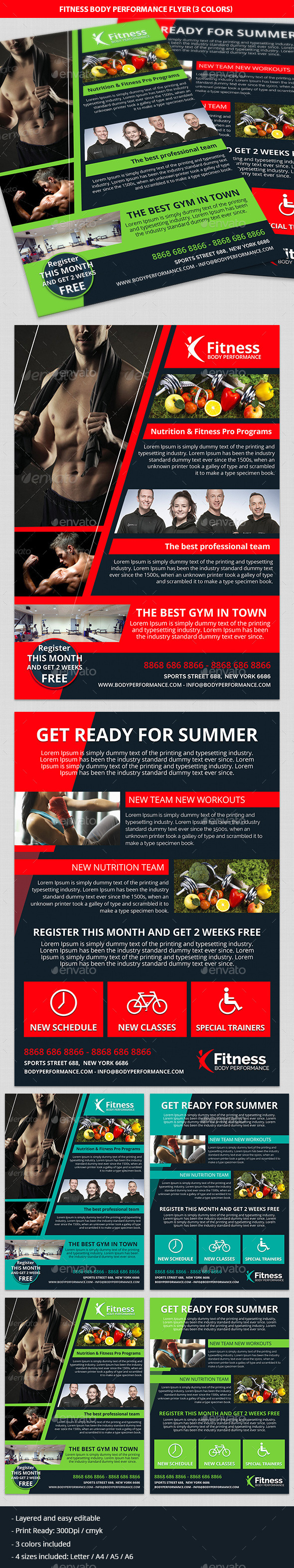 Fitness, Gym & Body Performance Business Flyer