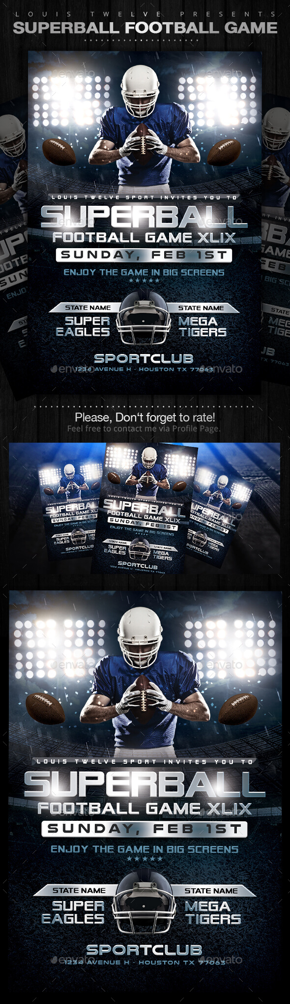 GraphicRiver SuperBall Game or College Football Flyer 10032386
