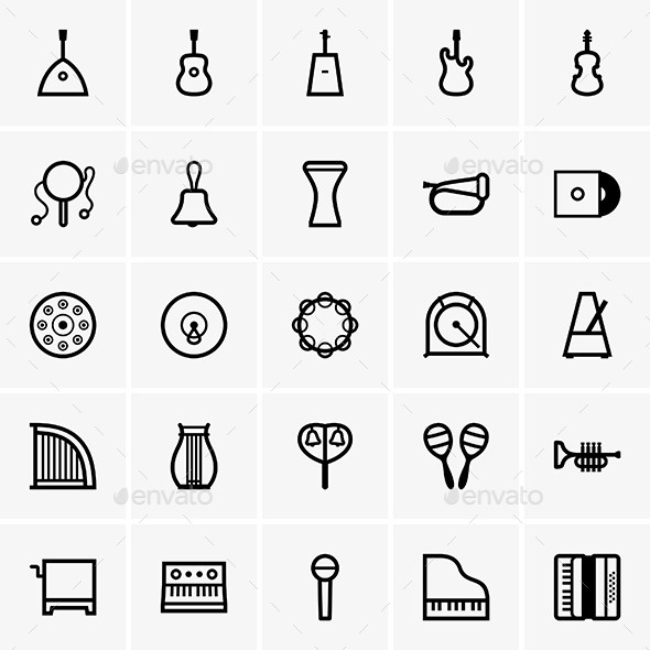 GraphicRiver Musical Instrument Icons 10032391
