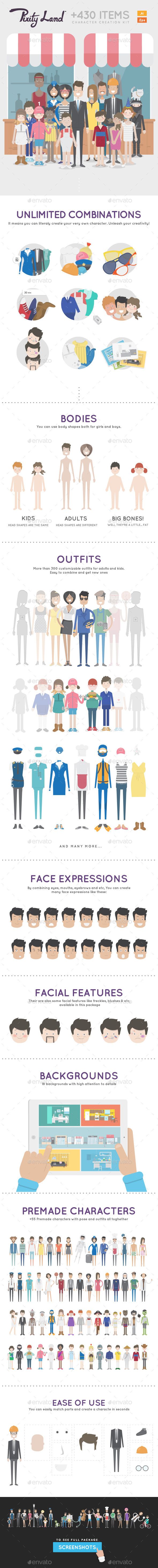 GraphicRiver Pixity Character Creator Kit 10032392