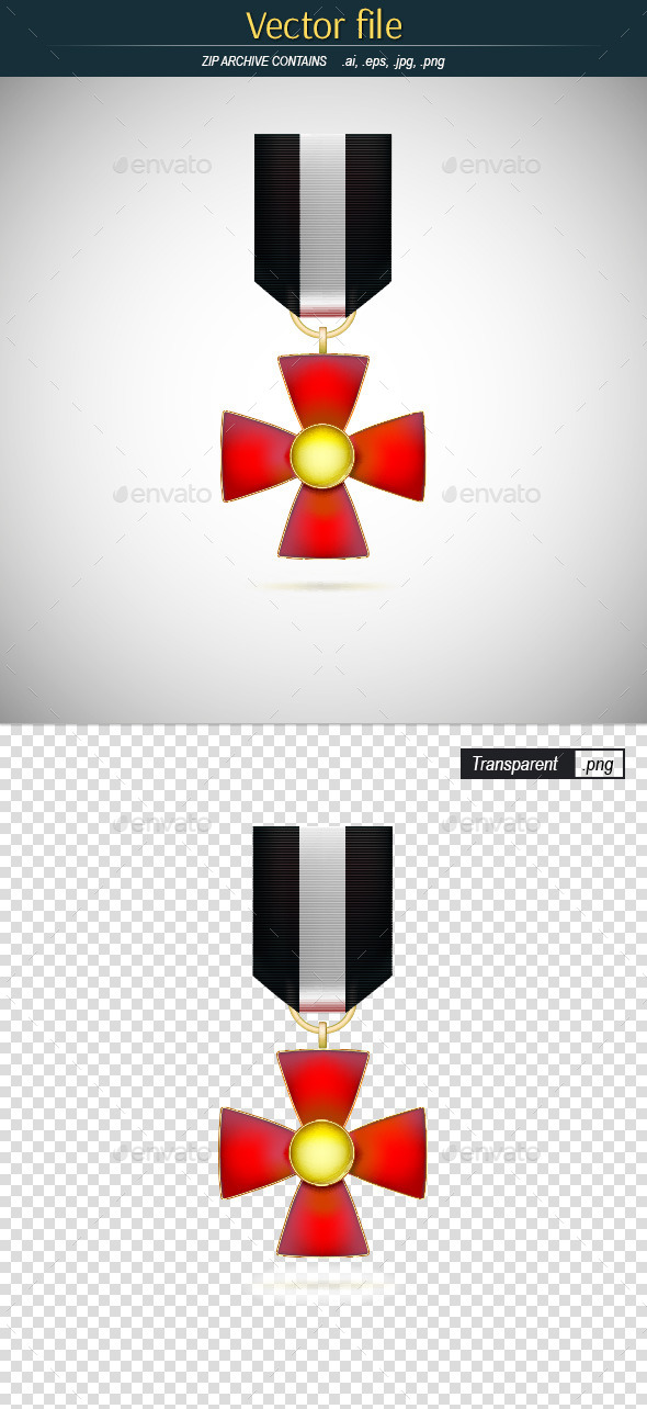 GraphicRiver Red Medal with Gold Cross 10032700