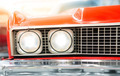 Close Up of Headlight of Red Classic Car - PhotoDune Item for Sale