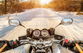 Biker First-person view. Winter slippery road - PhotoDune Item for Sale