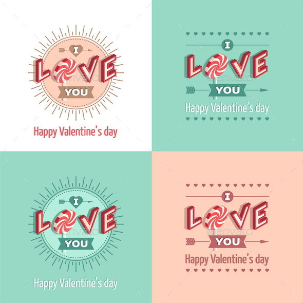 GraphicRiver Set of Happy Valentine's Day Greeting Cards 10033622
