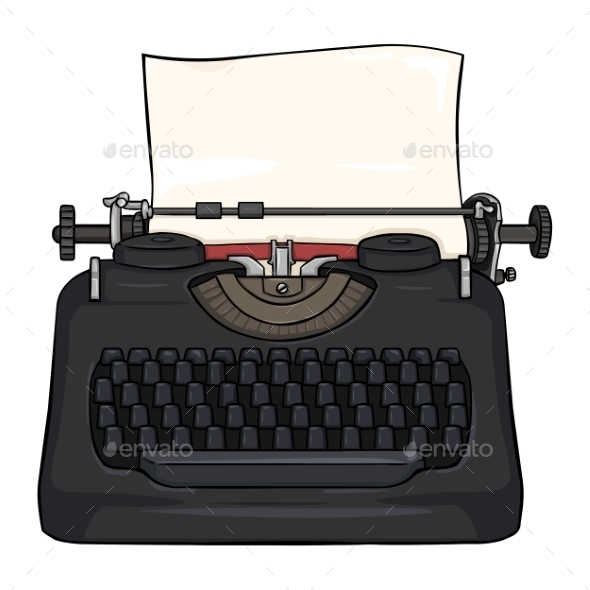 Cartoon Retro Typewriter