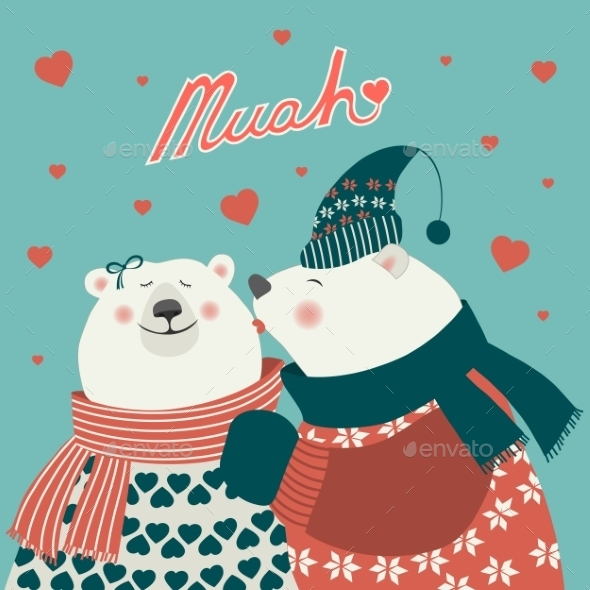 GraphicRiver Couple of Kissing Bears 10034023