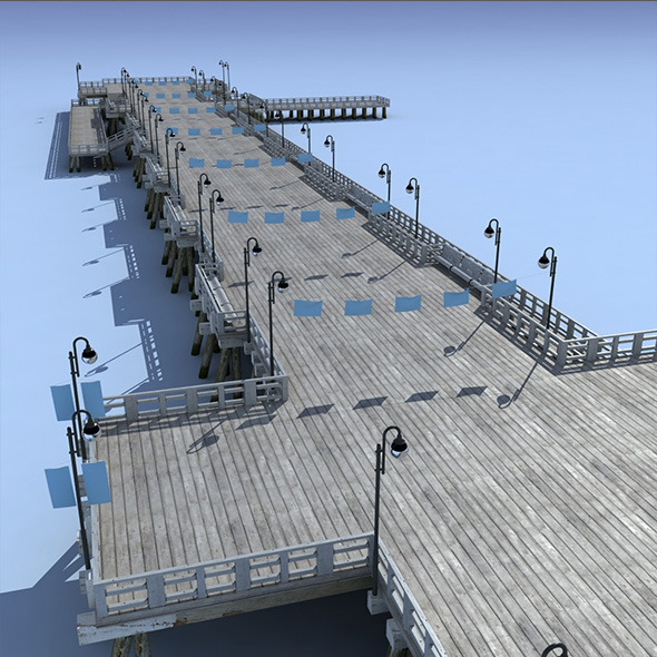 3DOcean Pier Bridge Low Poly 3D Model 10034044