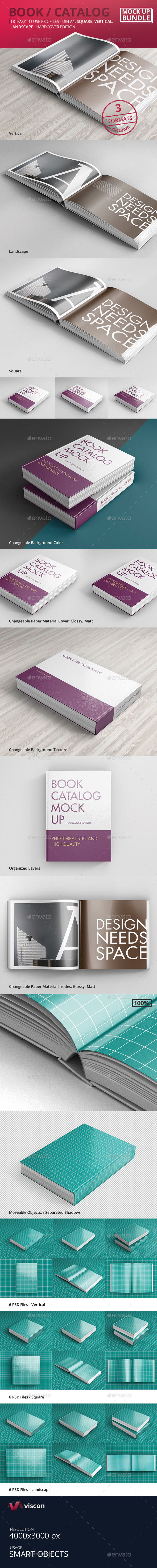 GraphicRiver Book Catalog Mock-Ups Bundle Hardcover Edition 10034228