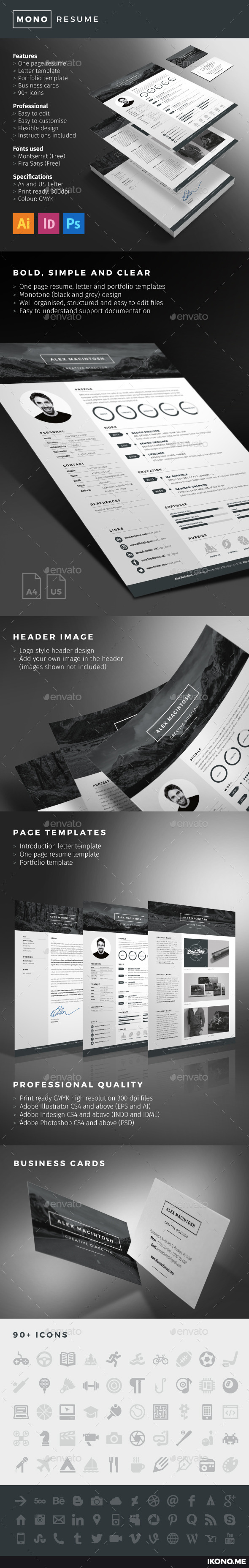 GraphicRiver Mono Resume 10034652
