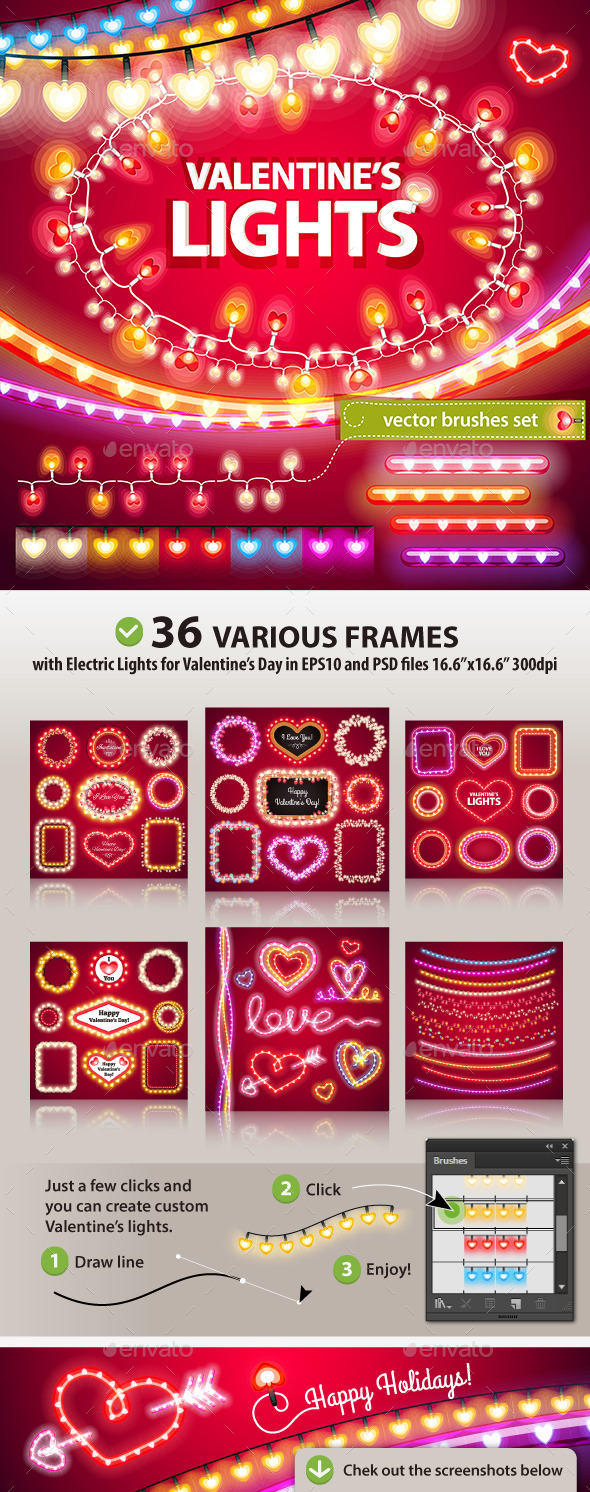 Valentines Lights Decorations Set