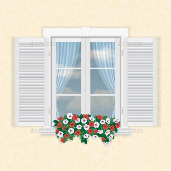 GraphicRiver White Window with Shutters and Flowers 10035625