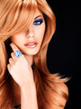 Beautiful woman with long red hairs with blue makeup - PhotoDune Item for Sale